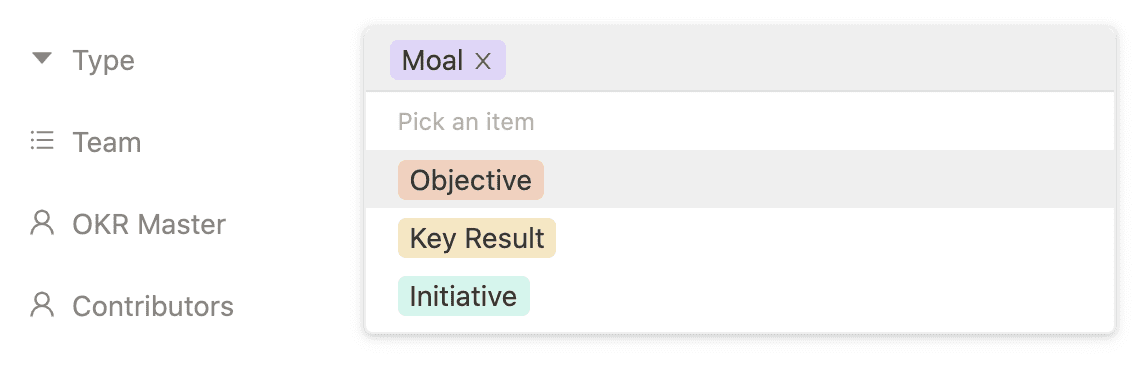 OKR software with Moals and initiatives